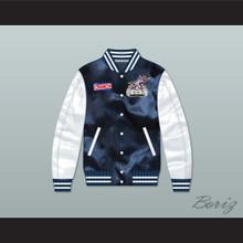 Stars Rock N' Jock All Star Jam 2002 Navy Blue/ White Varsity Letterman Satin Bomber Jacket