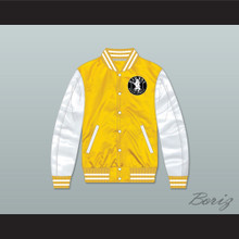Bad Boy Entertainment Yellow/ White Varsity Letterman Satin Bomber Jacket