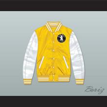Bad Boy Entertainment Yellow/ White Varsity Letterman Satin Bomber Jacket