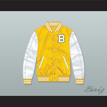 Bannon High School Yellow/ White Varsity Letterman Satin Bomber Jacket