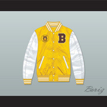 Bel-Air Academy Football Yellow/ White Varsity Letterman Satin Bomber Jacket