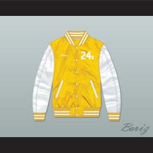 Bruno Mars 24K Hooligans Yellow/ White Varsity Letterman Satin Bomber Jacket 2