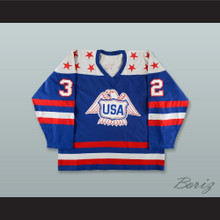 Doug Palazzari 32 Team USA Canada Cup Blue Hockey Jersey