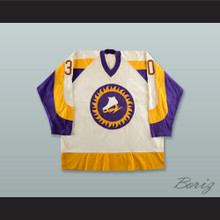 Gary Kurt 30 WHA New York Golden Blades White Hockey Jersey