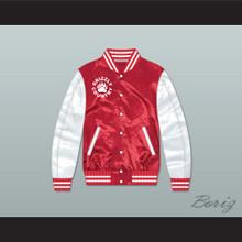 Minnville High School Grizzlies Football Red/ White Varsity Letterman Satin Bomber Jacket