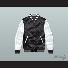 Action Jackson Black/ White Varsity Letterman Satin Bomber Jacket