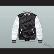 Action Jackson Black/ White Varsity Letterman Satin Bomber Jacket