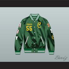 Kenny Powers 55 Charros Career Atlanta/Boston/New York/San Francisco/Seattle Green Varsity Letterman Satin Bomber Jacket