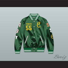Kenny Powers 55 Charros Career Atlanta/Boston/New York/San Francisco/Seattle Green Varsity Letterman Satin Bomber Jacket