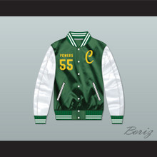 Kenny Powers 55 Charros Green/ White Varsity Letterman Satin Bomber Jacket