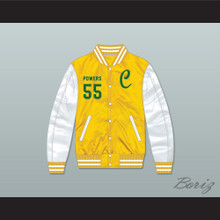 Kenny Powers 55 Charros Yellow/ White Varsity Letterman Satin Bomber Jacket