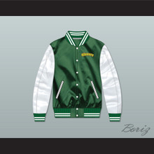 East Compton Clovers Green/ White Varsity Letterman Satin Bomber Jacket