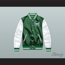 Hartford Whalers Green/ White Varsity Letterman Satin Bomber Jacket