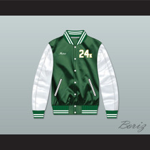 Bruno Mars 24K Hooligans Green/ White Varsity Letterman Satin Bomber Jacket 1