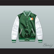 Ireland Green/ White Varsity Letterman Satin Bomber Jacket