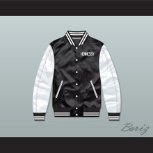 Hennessy Queens Bridge 95 Black/ White Varsity Letterman Satin Bomber Jacket