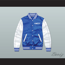 Hennessy Queens Bridge 95 Blue/ White Varsity Letterman Satin Bomber Jacket