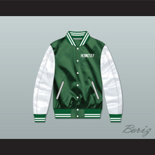Hennessy Queens Bridge 95 Green/ White Varsity Letterman Satin Bomber Jacket