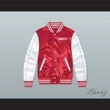 Hennessy Queens Bridge 95 Red/ White Varsity Letterman Satin Bomber Jacket