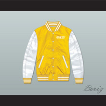 Hennessy Queens Bridge 95 Yellow/ White Varsity Letterman Satin Bomber Jacket