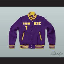 Lamar Jackson 7 Boynton Beach Community High School Tigers Purple/Yellow Varsity Letterman Jacket-Style Sweatshirt