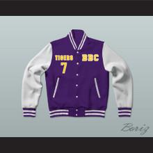 Lamar Jackson 7 Boynton Beach Community High School Tigers Purple/White Varsity Letterman Jacket-Style Sweatshirt