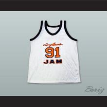 Dennis Rodman 91 Long Beach Jam White Basketball Jersey