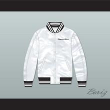 Flavor-Flav Public Enemy White Varsity Letterman Satin Bomber Jacket