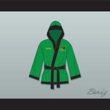 Prince Akeem Joffer Fictional African Country Green Satin Half Boxing Robe with Hood