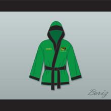Prince Akeem Joffer Zamunda Green Satin Half Boxing Robe with Hood