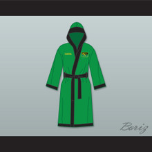Prince Akeem Joffer Fictional African Country Green Satin Full Boxing Robe with Hood