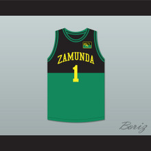 Prince Akeem Joffer 1 Fictional African Country Black/Green Basketball Jersey with Flag Patch