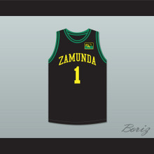 Prince Akeem Joffer 1 Fictional African Country Black Basketball Jersey with Flag Patch