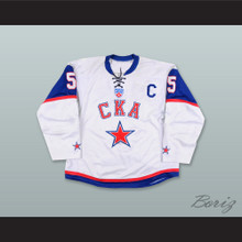 Vitali Vishnevsky 5 SKA St. Petersburg White Tie Down Hockey Jersey