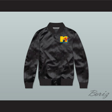 Music Television Black Varsity Letterman Satin Bomber Jacket
