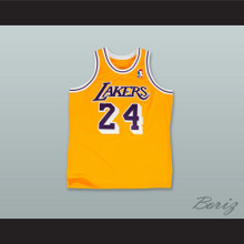 K. Bryant 24 Los Angeles Yellow Retro Basketball Jersey with League Logo Tribute Patch