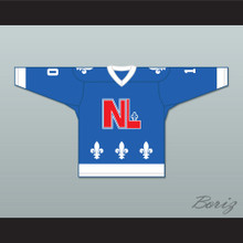 René Laberge 10 Le National de Québec Blue Hockey Jersey- Lance et compte (He Shoots, He Scores)