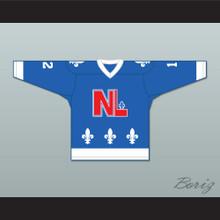 Bob Clermont 12 Le National de Québec Blue Hockey Jersey- Lance et compte (He Shoots, He Scores)