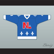 Bob Whyte 4 Le National de Québec Blue Hockey Jersey- Lance et compte (He Shoots, He Scores)