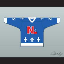 Danny Ross 25 Le National de Québec Blue Hockey Jersey- Lance et compte (He Shoots, He Scores)