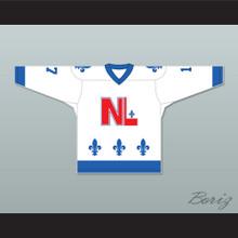 Denis Mercure 17 Le National de Québec White Hockey Jersey- Lance et compte (He Shoots, He Scores)