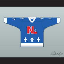 Denis Mercure 17 Le National de Québec Blue Hockey Jersey- Lance et compte (He Shoots, He Scores)