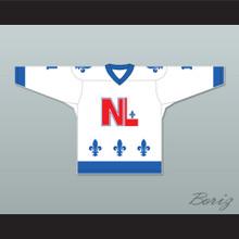 Gary Bennett 1 Le National de Québec White Hockey Jersey- Lance et compte (He Shoots, He Scores)