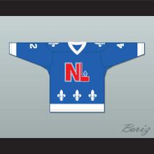 Gilles Champagne 42 Le National de Québec Blue Hockey Jersey- Lance et compte (He Shoots, He Scores)