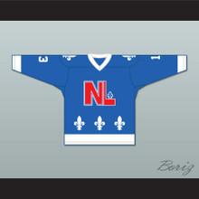 Pierre Lambert 13 Le National de Québec Blue Hockey Jersey- Lance et compte (He Shoots, He Scores)