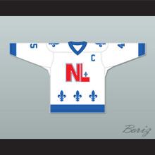 Robert Martin 45 Le National de Québec White Hockey Jersey- Lance et compte (He Shoots, He Scores)