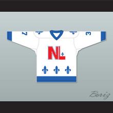 Roger Ladouceur 37 Le National de Québec White Hockey Jersey- Lance et compte (He Shoots, He Scores)