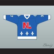 Roger Ladouceur 37 Le National de Québec Blue Hockey Jersey- Lance et compte (He Shoots, He Scores)