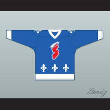 Maurice Gauthier 8 Les Saints de Chicoutimi Blue Hockey Jersey- Lance et compte (He Shoots, He Scores)