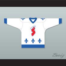 Pierre Lambert 13 Les Saints de Chicoutimi White Hockey Jersey- Lance et compte (He Shoots, He Scores)
